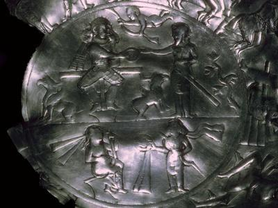 A Sassanid silver dish showing the investiture of a King. Artist: Unknown-Unknown-Framed Giclee Print