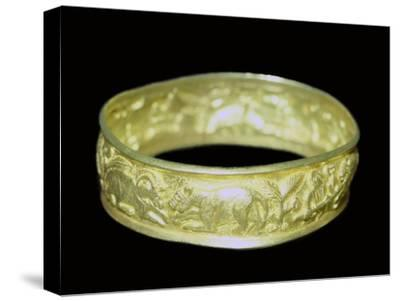 Bracelet from the Hoxne hoard, Roman Britain, buried in the 5th century. Artist: Unknown-Unknown-Stretched Canvas Print