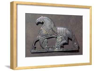 Bronze plaque of a horse, 5th-9th century.-Unknown-Framed Giclee Print