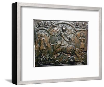 Bronze Roman relief of Mithras killing a bull. Artist: Unknown-Unknown-Framed Giclee Print