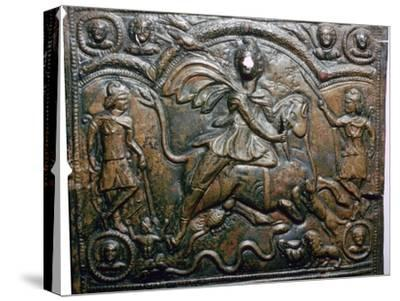 Bronze Roman relief of Mithras killing a bull. Artist: Unknown-Unknown-Stretched Canvas Print