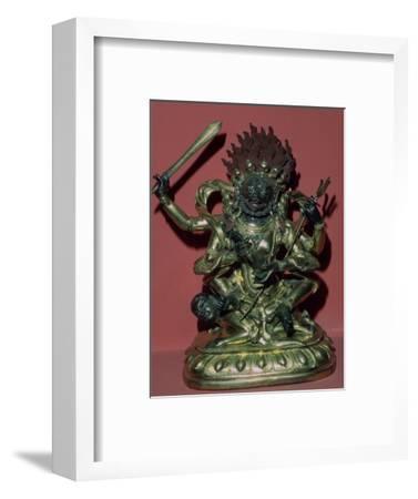 Tibetan gilt-bronze statuette of Mahakala. Artist: Unknown-Unknown-Framed Giclee Print