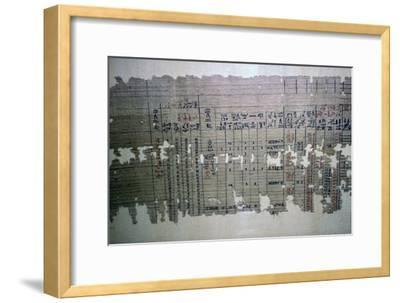Egyptian monthly accounts from the archive of a temple. Artist: Unknown-Unknown-Framed Giclee Print