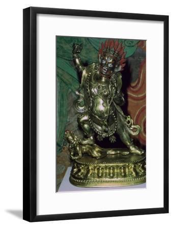 Tibetan gilt-bronze statuette of Vajrapani. Artist: Unknown-Unknown-Framed Giclee Print