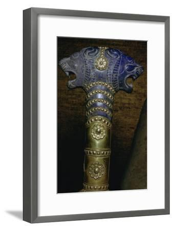 Detail of an Achaemenid gold and lapis lazuli staff. Artist: Unknown-Unknown-Framed Giclee Print
