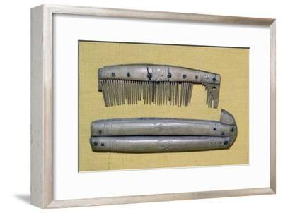 Viking period bone and ivory comb and case. Artist: Unknown-Unknown-Framed Giclee Print