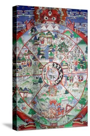 Tibetan painting of the wheel of transmigratory existence. Artist: Unknown-Unknown-Stretched Canvas Print