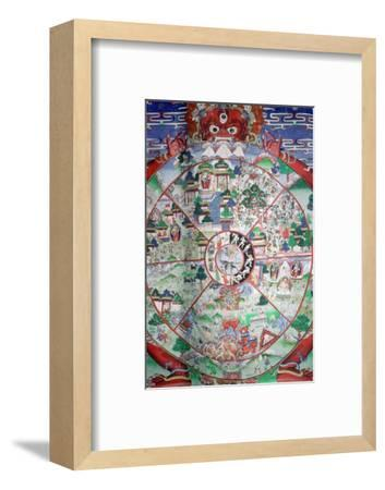 Tibetan painting of the wheel of transmigratory existence. Artist: Unknown-Unknown-Framed Photographic Print