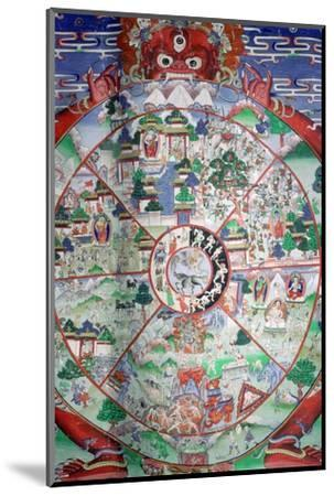 Tibetan painting of the wheel of transmigratory existence. Artist: Unknown-Unknown-Mounted Photographic Print