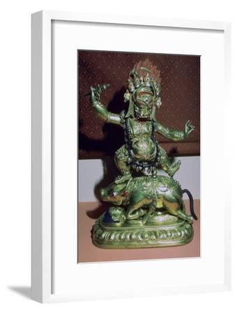 Tibetan gilt-bronze statuette of Yamer. Artist: Unknown-Unknown-Framed Giclee Print