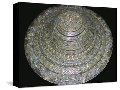 Circular plaque from Nepal with dancing figure, probably Chamunda. Artist: Unknown-Unknown-Stretched Canvas Print