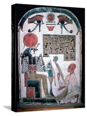 Egyptian funerary slab of Diedkhonsu Soefankh. Artist: Unknown-Unknown-Stretched Canvas Print