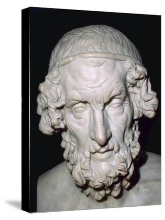 Marble portrait bust of Homer, Roman, from Baiae, Campania, Italy, 1st-2nd century. Artist: Unknown-Unknown-Stretched Canvas Print