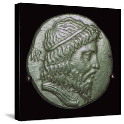 Gold Stater of King Andragoras of Parthia. Artist: Unknown-Unknown-Stretched Canvas Print