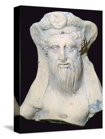 Terracotta head of Dionysus from a sanctuary. Artist: Unknown-Unknown-Stretched Canvas Print