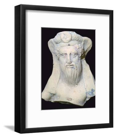 Terracotta head of Dionysus from a sanctuary. Artist: Unknown-Unknown-Framed Photographic Print