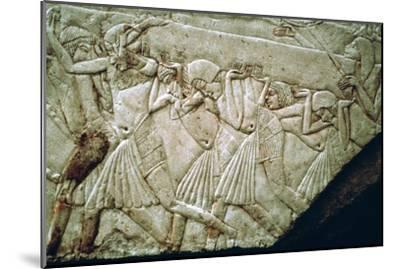 Egyptian relief of men moving a stone lintel. Artist: Unknown-Unknown-Mounted Giclee Print