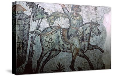 Mosaic of a Vandal on horseback, 5th century. Artist: Unknown-Unknown-Stretched Canvas Print