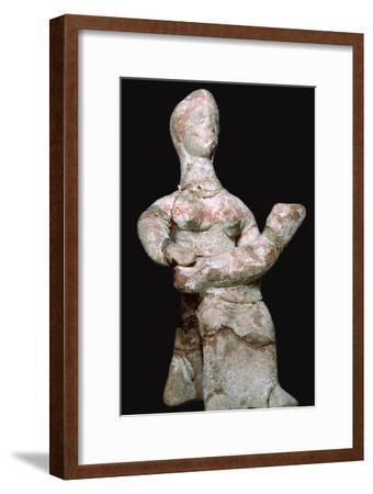Greek terracotta statuette of a woman with a baby. Artist: Unknown-Unknown-Framed Giclee Print