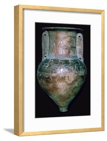 Greek vase showing Perseus killing a Gorgon. Artist: Unknown-Unknown-Framed Giclee Print