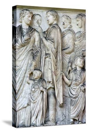 Detail from the Ara Pacis (Altar of peace), 2nd century BC. Artist: Unknown-Unknown-Stretched Canvas Print