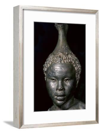 Bronze vessel in the form of the head of a young African woman. Artist: Unknown-Unknown-Framed Giclee Print