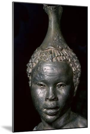 Bronze vessel in the form of the head of a young African woman. Artist: Unknown-Unknown-Mounted Giclee Print