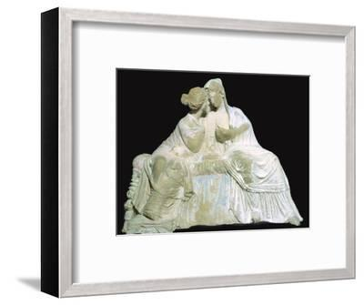 Greek terracotta statuette of two women chatting. Artist: Unknown-Unknown-Framed Photographic Print