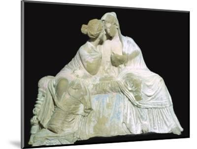 Greek terracotta statuette of two women chatting. Artist: Unknown-Unknown-Mounted Photographic Print
