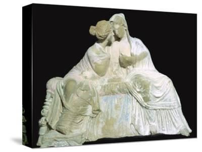 Greek terracotta statuette of two women chatting. Artist: Unknown-Unknown-Stretched Canvas Print
