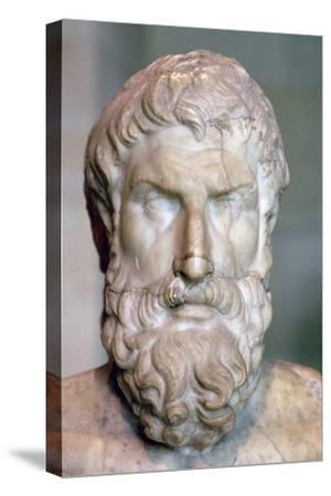 Bust of the Greek philosopher Epicurus, c3rd century BC. Artist: Unknown-Unknown-Stretched Canvas Print