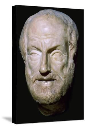 Bust of the Greek philosopher Aristotle, 4th century BC. Artist: Unknown-Unknown-Stretched Canvas Print