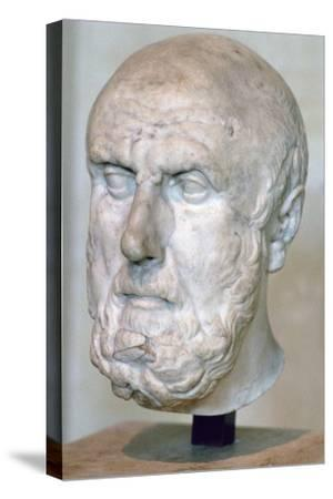 Bust of the Greek philosopher Chrysippus. Artist: Unknown-Unknown-Stretched Canvas Print