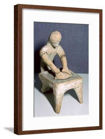 Greek terracotta of a woman making bread. Artist: Unknown-Unknown-Framed Giclee Print