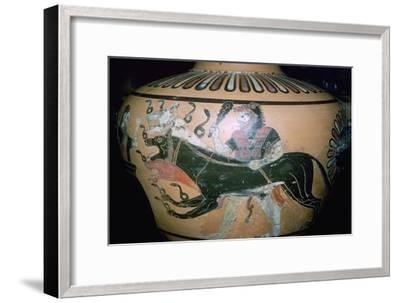 Greek vase painting of Heracles and Cerberus. Artist: Unknown-Unknown-Framed Giclee Print