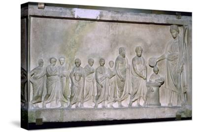 Greek relief of a sacrifice to Demeter, 4th century BC. Artist: Unknown-Unknown-Stretched Canvas Print