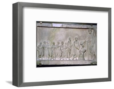 Greek relief of a sacrifice to Demeter, 4th century BC. Artist: Unknown-Unknown-Framed Photographic Print