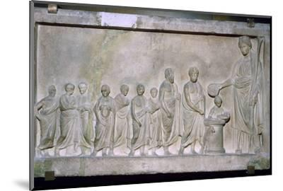Greek relief of a sacrifice to Demeter, 4th century BC. Artist: Unknown-Unknown-Mounted Photographic Print