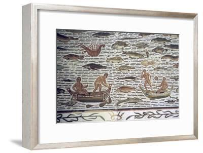 Roman mosaic of men fishing from boats, 2nd century BC. Artist: Unknown-Unknown-Framed Giclee Print