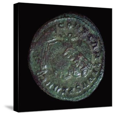 Bronze coin of Constantine I, 3rd century BC. Artist: Unknown-Unknown-Stretched Canvas Print