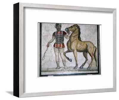 Roman mosaic of a charioteer with horse. Artist: Unknown-Unknown-Framed Giclee Print