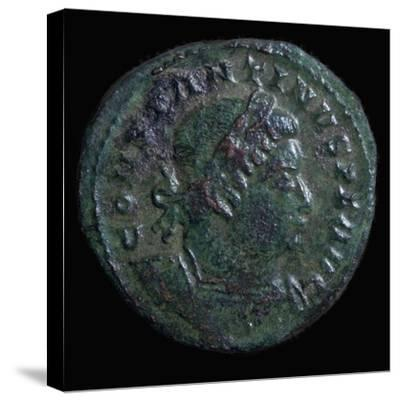 Bronze coin of Constantine I, 4th century. Artist: Unknown-Unknown-Stretched Canvas Print