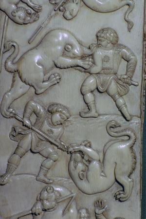 Detail from an ivory diptych of men fighting lions, 6th century. Artist: Unknown-Unknown-Framed Giclee Print