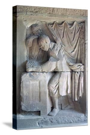 Roman relief of a tax-collector. Artist: Unknown-Unknown-Stretched Canvas Print