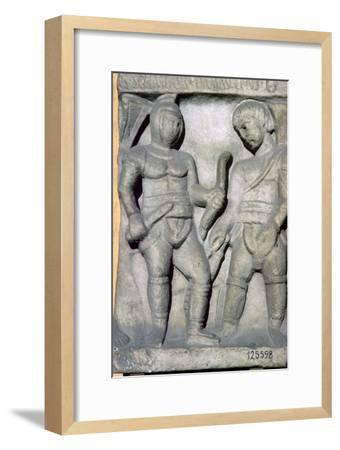 Roman relief of gladiators, 3rd century. Artist: Unknown-Unknown-Framed Giclee Print