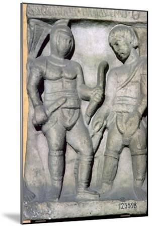 Roman relief of gladiators, 3rd century. Artist: Unknown-Unknown-Mounted Giclee Print