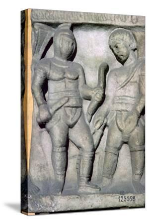 Roman relief of gladiators, 3rd century. Artist: Unknown-Unknown-Stretched Canvas Print