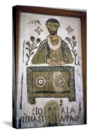 Mosaic of a man writing at a desk, 4th century. Artist: Unknown-Unknown-Stretched Canvas Print