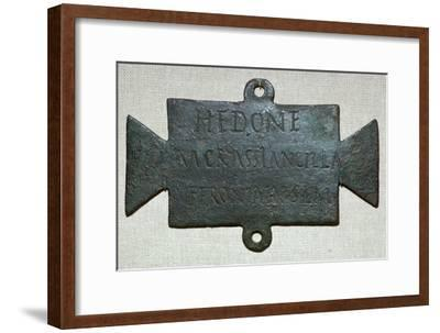 Second century Roman bronze plaque with a dedication to Feronia. Artist: Unknown-Unknown-Framed Giclee Print