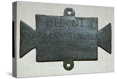 Second century Roman bronze plaque with a dedication to Feronia. Artist: Unknown-Unknown-Stretched Canvas Print